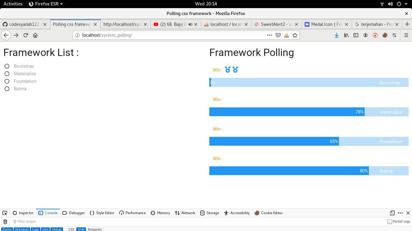 membuat system polling dengan metode request ajax jquery PHP PDO